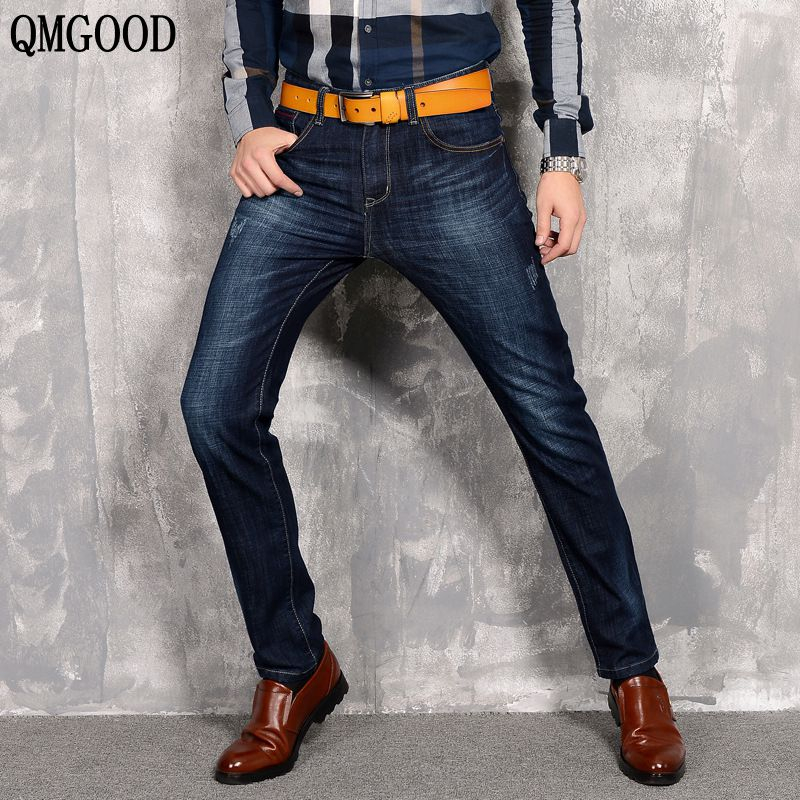 QMGOOD New Brand Men Designer Slim Stretch Casual Straight Leg Denim Jeans Male Regular Fit Cotton Blue Business Trousers Pants new men slim straight locomotive jeans denim jeans cowboy fashion business designer famous brand men s jeans trousers pant 29 36
