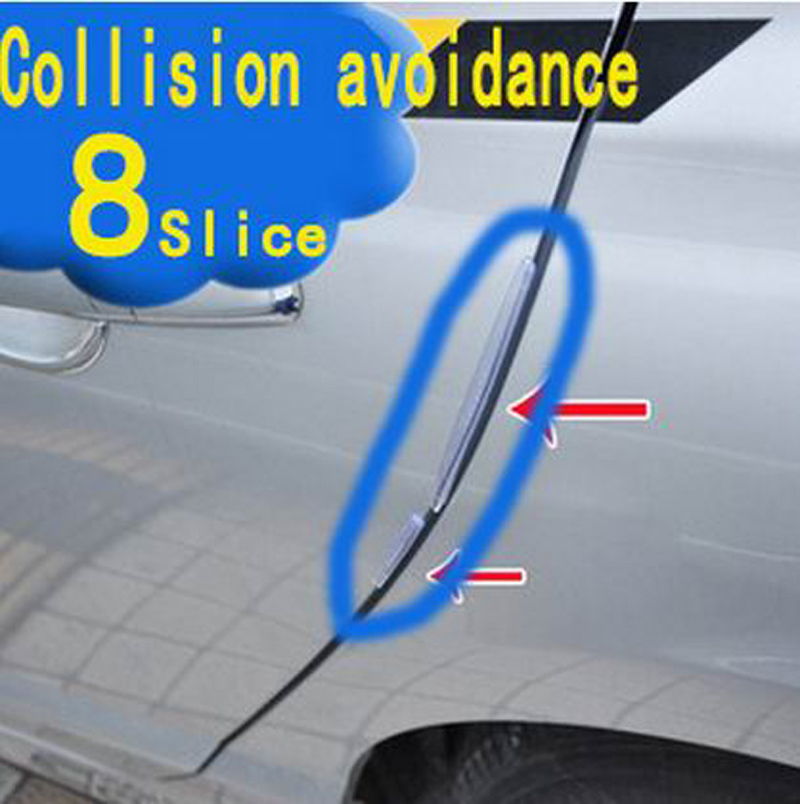8pcs/set Car Door Collision avoidance Stick Rubber strip Auto Anti rub bar Car Crash Barriers Door Guard Collision Car styling ball style pvc anti collision angle guard for kids translucent white