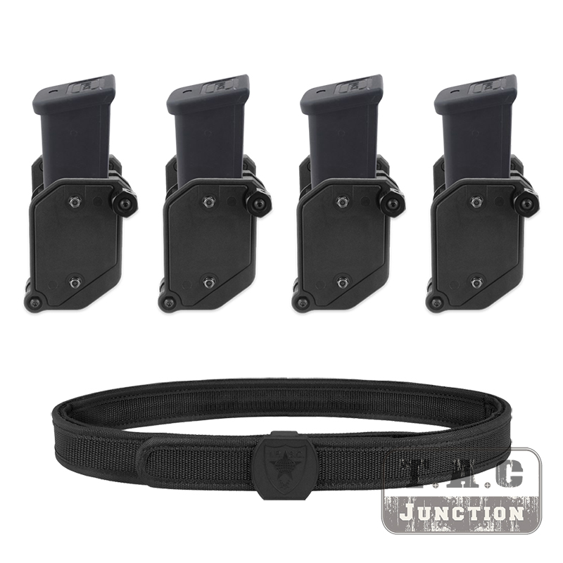 4PCS IPSC Magazine Holster + Belt Set IDPA USPSA 3-GUN Mag Pouch Shooting Competition Combo For 9mm .45 Colt 1911 CZ 75 P226 G22