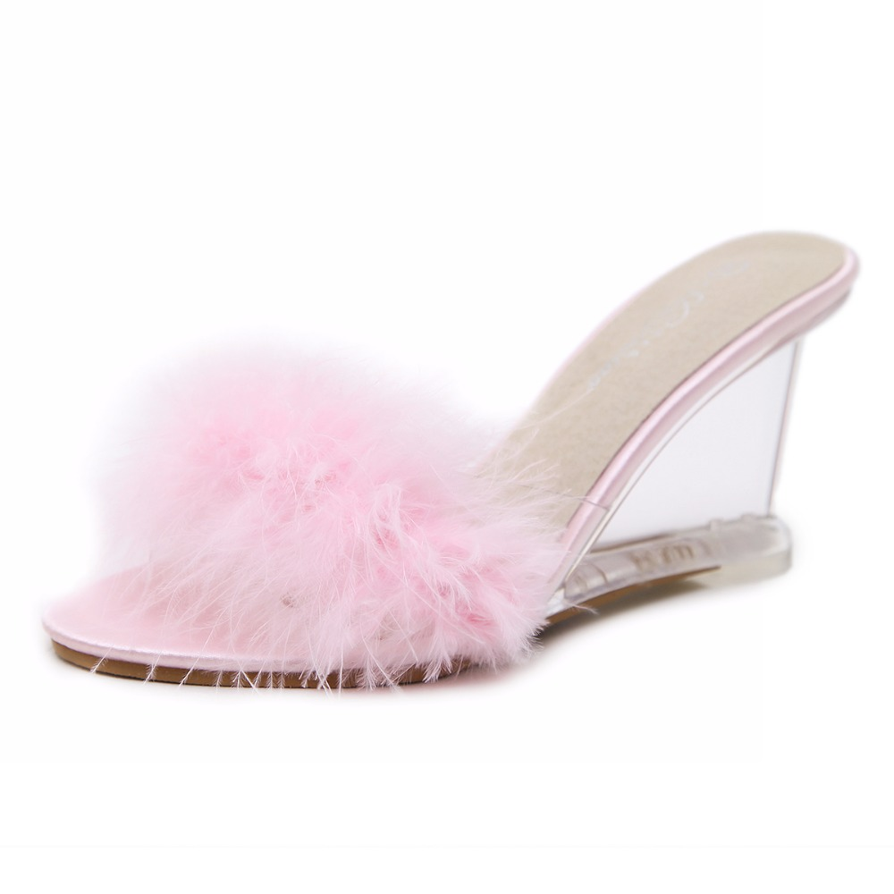 3 Color Female Slipper 35-40 Women Shoes Slides Ultra-high-heeled 8.5cm Feather Wedges Crystal Transparent Wedding Shoes 34