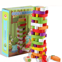 Colorful egetables Jenga Education Board Game Family/Party Best Gift for Children Building Blocks Game