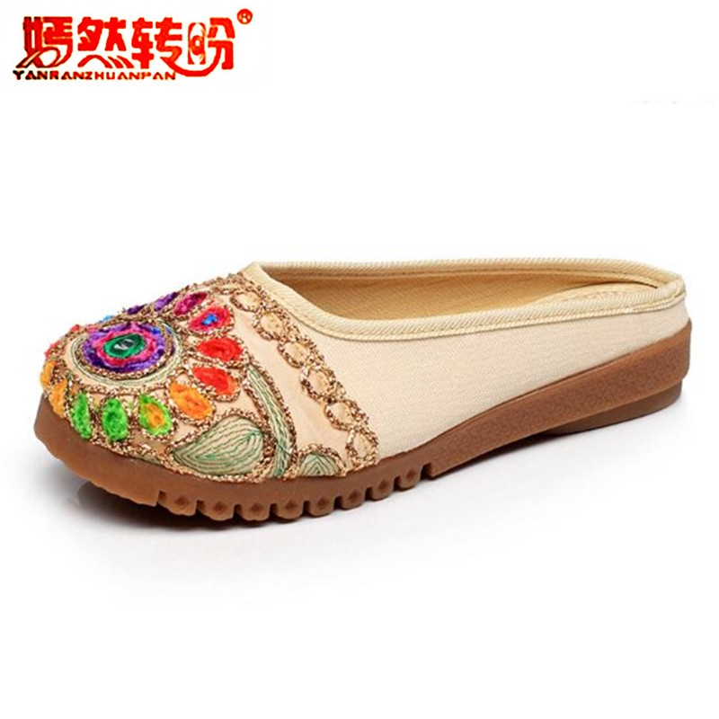 Embroidery Slippers Summer Ethnic Women Sandals Chinese Style Casual Canvas Flats Shoes Woman Flower Flip Flops Mules Size 35-41 lanshulan bling glitters slippers 2017 summer flip flops shoes woman creepers platform slip on flats casual wedges gold