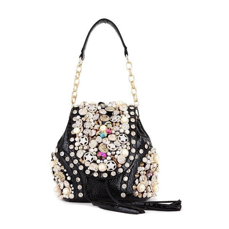 Women messenger bags handbag shoulder bag handmade beaded chain tote purse Multifunction rucksack knapsack Crossbody Bag