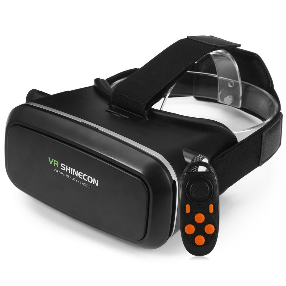 VR SHINECON 3D Virtual Reality Head-Mounted 3D Video Glasses with B100 Bluetooth 3.0 Remote Controller for 6.0 – 8.2cm Width