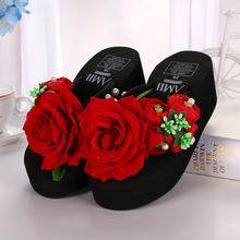 The new summer rose red beach shoes fashion lady slippers sandals flowers lady slippers  increased thick bottom slippers
