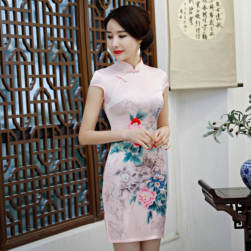 New Arrival Women's Satin Mini Cheongsam Fashion Chinese Style Dress Elegant Slim Qipao Clothing Size S M L XL XXL 368483 18