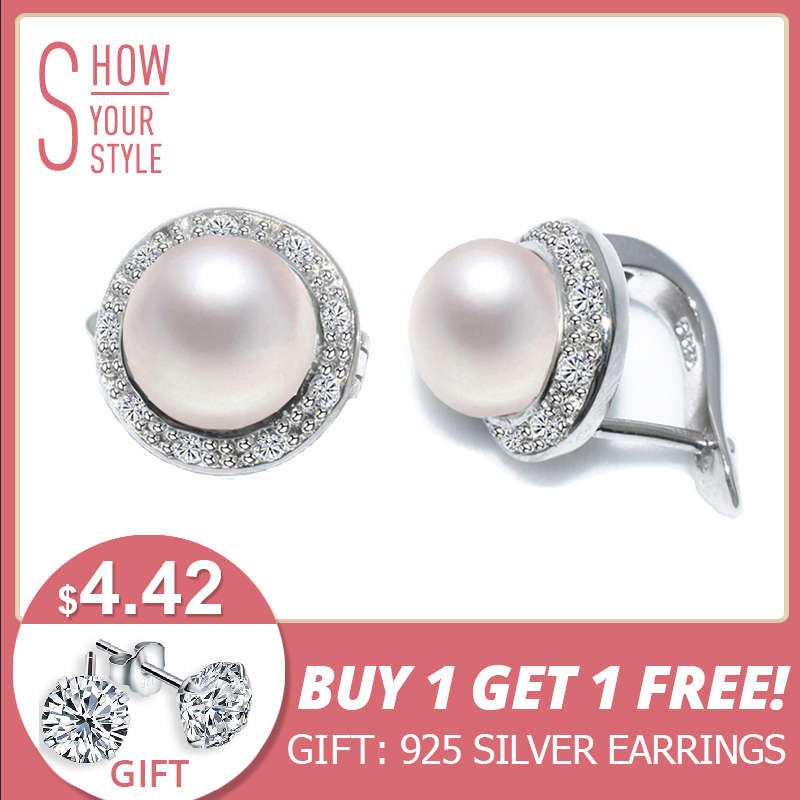 ZHBORUINI 2017 New Pearl Earrings 925 Sterling Silver Jewelry Vintage Style Natural Freshw
