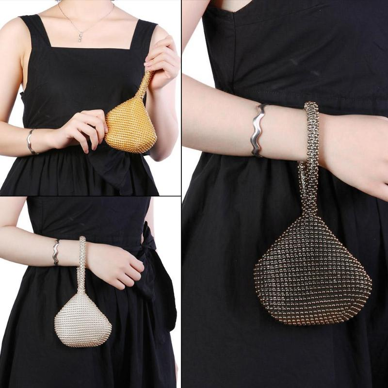3 Colors Metal Clutch Bags For Women Ladies Small  Fashion Day Clutches Pearl Beaded Purse For Dinner Party Metallic Handbags
