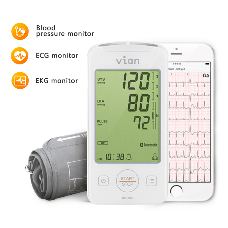 Home Health Care Digital Lcd Arm Blood Pressure Monitor with ECG monitor  Machine for Measuring Automatic EKG tracing APP record