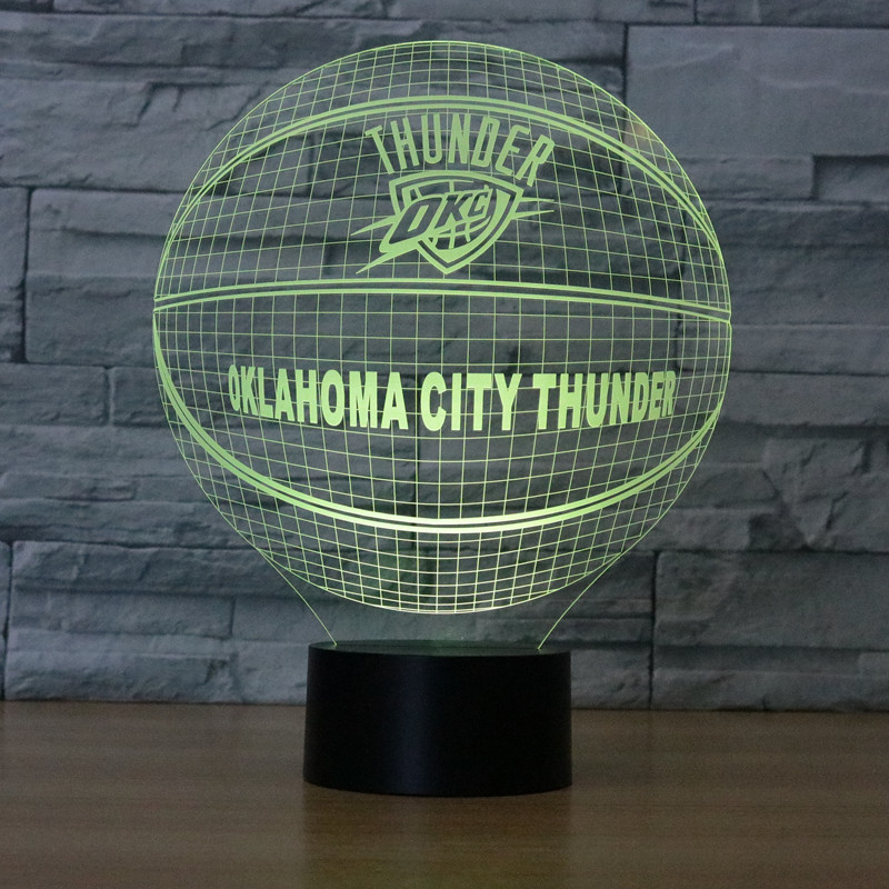 3D LED NightLight OKLAHOMA CITY THUNDER Russell Westbrook USB Touch Switch American Basketball Club Table Lamp Luminaria De Mesa In Night Lights From