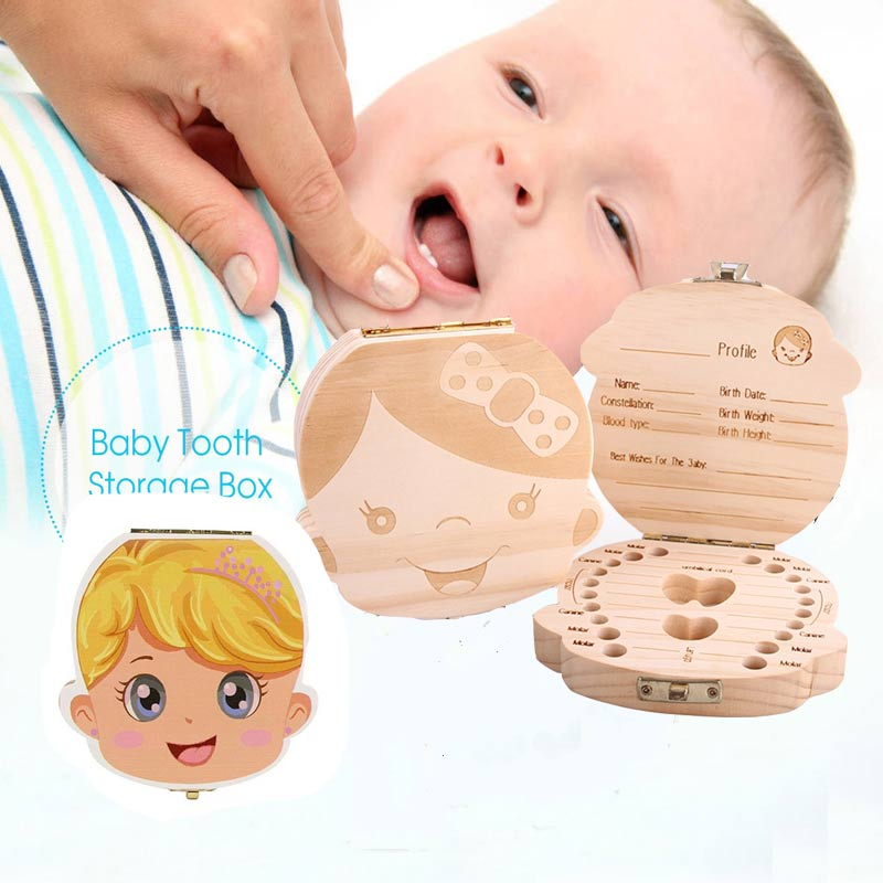 English Spanish Russia Text Baby Boy Girl Fallen Tooth Box Storage Natural Wood Case Save Milk Teeth Collection Organizer Holder