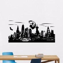 Gotham Skyline Wall Decal Vinyl Batman Superhero Comics Sticker Home Art Decor Design Murals AY0188