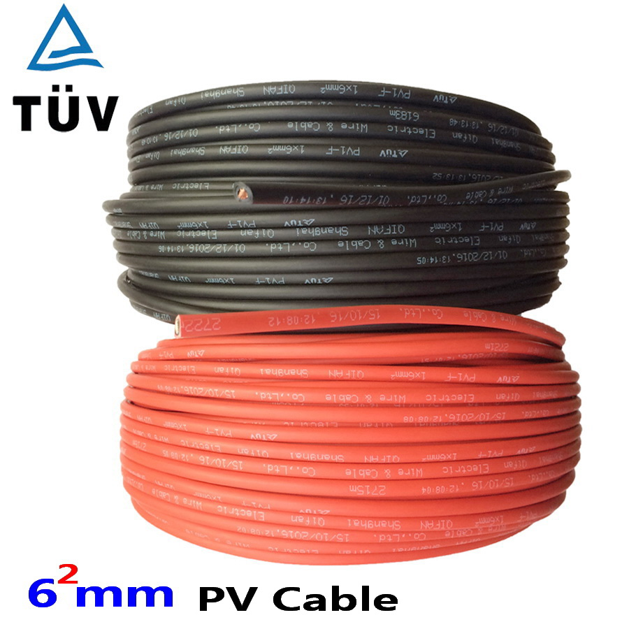 20m 9AWG 10AWG  6mm2 Solar Cable Red Or Black PV Cable Wire Copper Conductor XLPE Jacket TUV Certifiction EU US