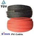 20 м 6 мм2 Солнечный Кабель красный или черный PV кабель провод медный проводник XLPE куртка TUV сертификация ЕС и США