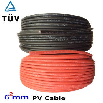 20m   6mm2 Solar Cable Red or Black PV Cable Wire Copper Conductor XLPE Jacket TUV Certifiction EU US