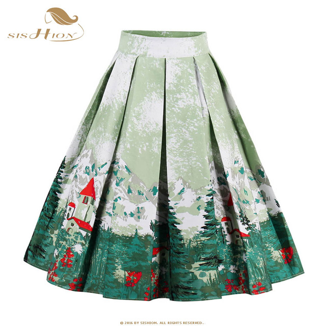 64e4c002eb064f SISHION 2017 New Women Pleated Skirt Pattern Flower Floral Print Summer Skirts  Plus Size Ball Gown Blue Green Purple Red VD0530