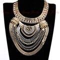 Большой мода преувеличены фирменный стиль многонациональная женская белый к позолоченные цепи вечернее платье украшения бесплатная доставка