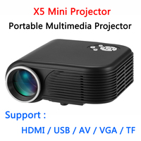 X5 Mini Projector LED Projector 180 Lumens 1080P Movie LCD 640x480 MAX 1920x1080 With HDMI VGA