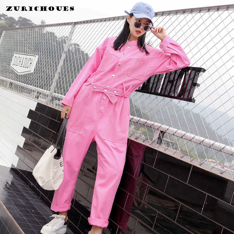 ZURICHOUSE Otoño de 2019 de las mujeres de manga larga Retro mono Denim monos mujer suelta BF viento pantalones vaqueros pantalones de overoles rosa