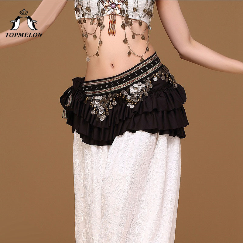 TOPMELON Ruffles Design Belly Dancing Waist Belt for Women Red Green Black Sequins Jewelry Decorated Luxury Belts