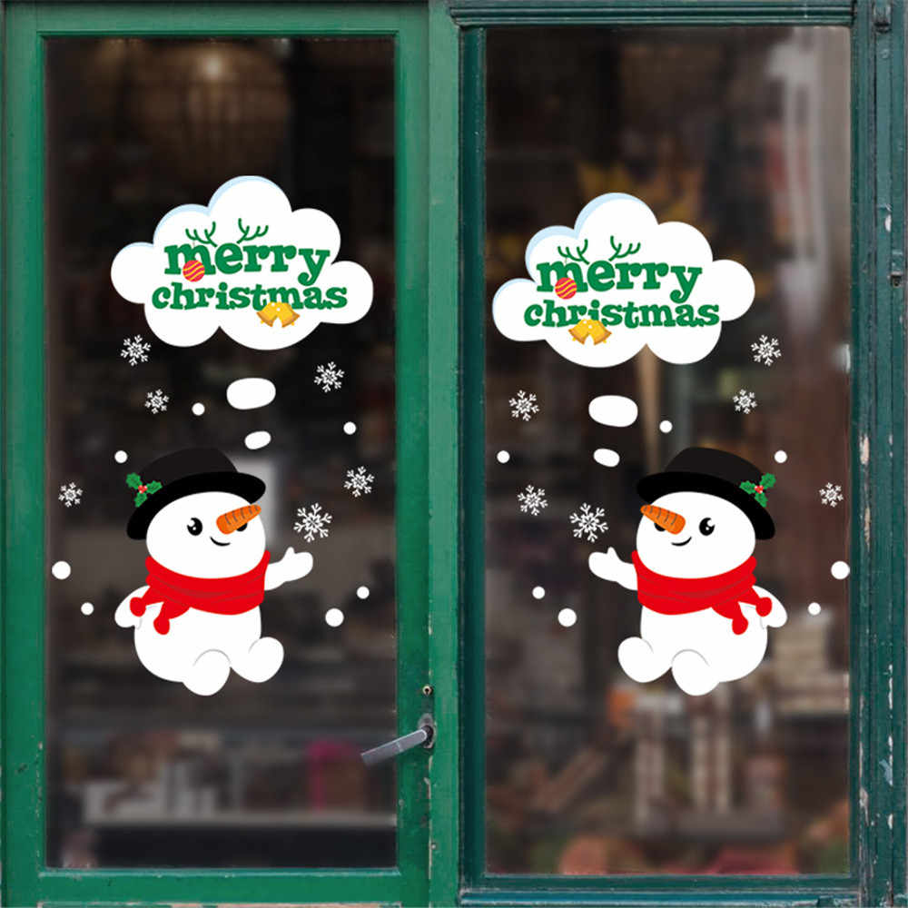 Double-sided Christmas snowman door stickers living room wall stickers window storefront glass background decorative stickers