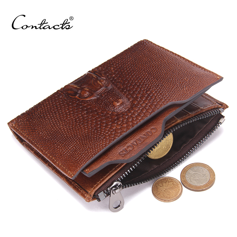 CONTACTS 2018 New Male Genuine Leather Wallets Coin Zipper Pocket Fashion Short Mens Wallet Standard Zipper Design Wallets