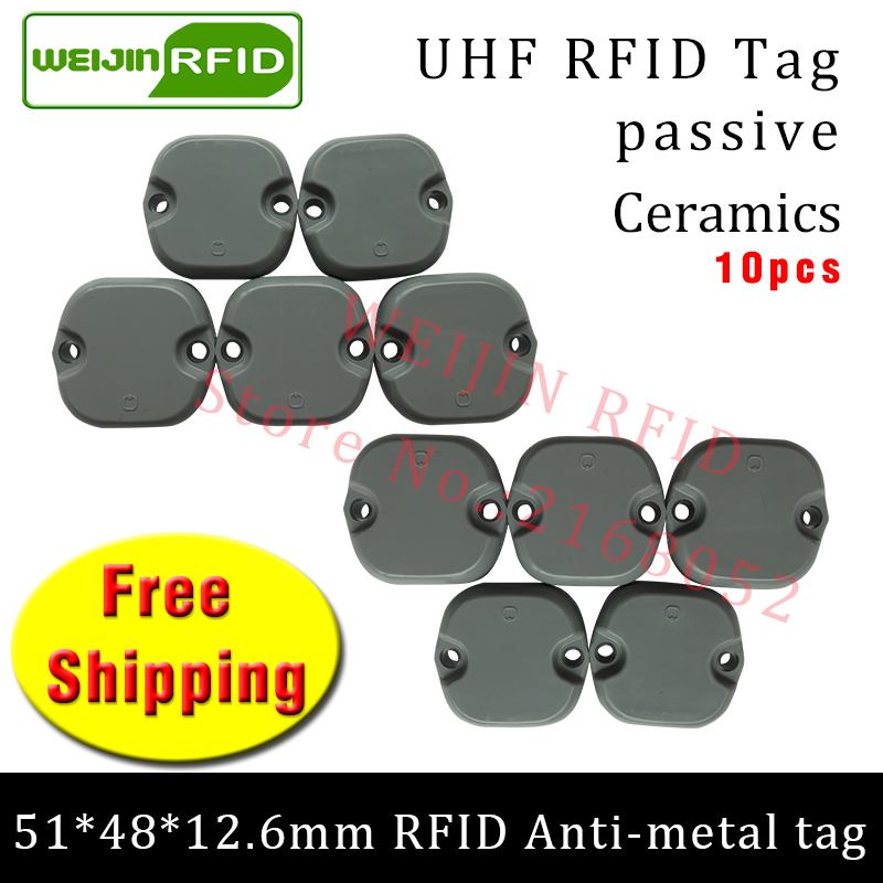 UHF RFID anti metal tag 915m 868m Impinj M4 10pcs free shipping 51*48*12.5mm Mechanical equipment durable ABS passive RFID tags high quality programmable uhf rfid tags passive for rubber automobile tires management inventory