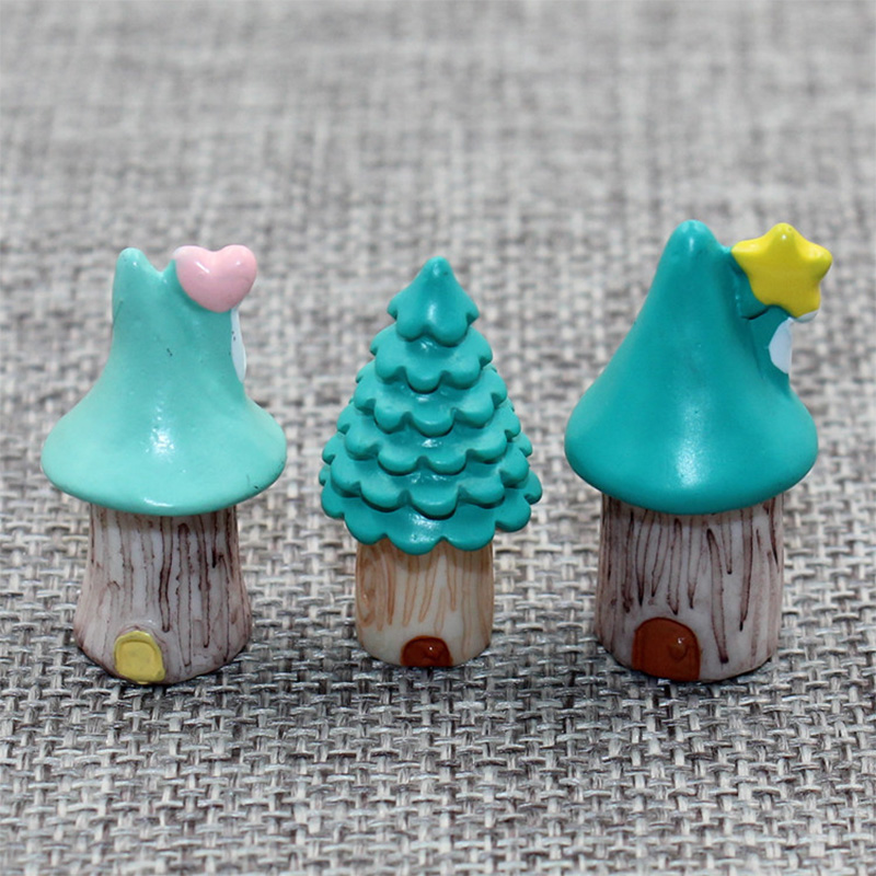 3 pc/lot Christams Tree House Mini resin craft DIY home decor miniature fairy garden decoration accessories modern figurine toys