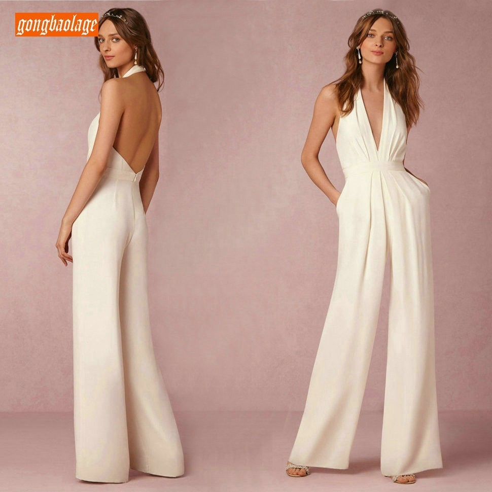 Elegant Ivory   Evening     Dresses   Slim Fit Jumpsuits 2019 Black Women Long Pants   Evening   Gowns Trousers Backless Jumpsuit Banquet
