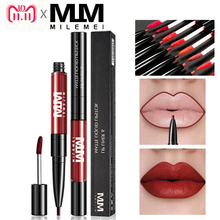 hot deal buy milemei  double end lipliner matte velvet liquid lipstick moisturzing  lips long lasting professional lips make up 16 colors