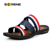 SERENE 2017 Men Shoes Male Shoes Slippers Flip Flops Rubber Size 43 Summer Blue Color Pu