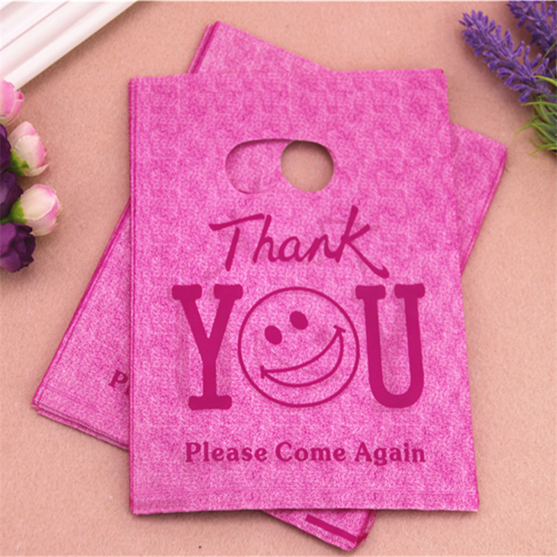 2016 New Design Hot Sale Wholesale 100pcs/lot 15*20cm Hot Pink Thank You Gift Shopping Bags With Handle Plastic Packaging Bags