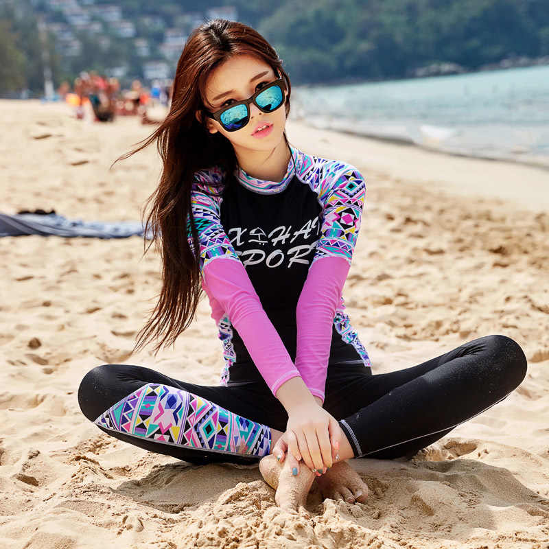 K Berlaku Perempuan untuk Kebugaran Baju Renang Wanita Lengan Panjang Baju Renang Pakaian Renang Wanita Surf Pakaian Hewan Polyethersulfone