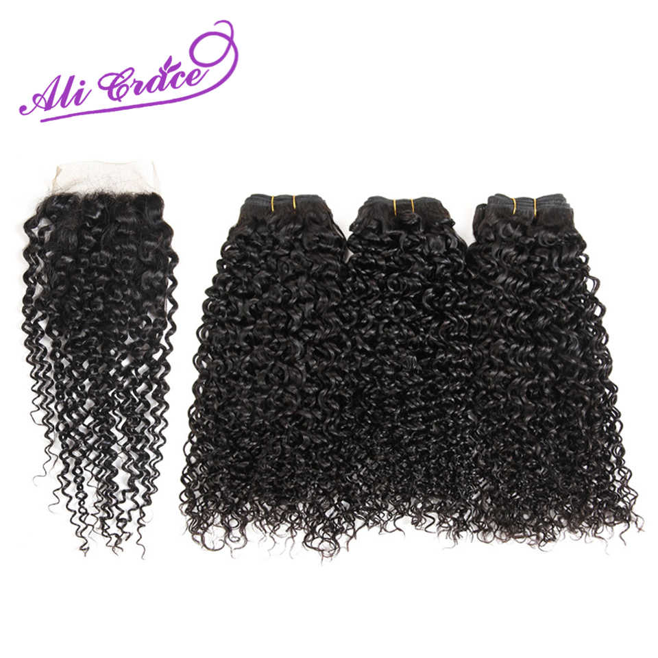 Ali Grace Hair Peruvian Kinky Curly 3 Bundles Human Hair With Lace Closure 4*4 Free Middle Part Natural Color Remy Hair