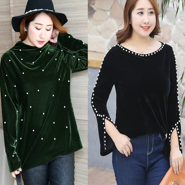 plus size 4xl slit hem long sleeve beading pearl elegant ladies
