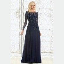 2015 Elegant Long Sleeve Navy Blue Evening Dress Mother Of The Bride Dresses Beaded Chiffon Cheap Vestidos Women Formal