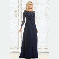 5ddf016d6176 2015 Elegante Manica Lunga Navy Blue Abito Da Sera Madre Della Sposa Abiti  In Rilievo Chiffon