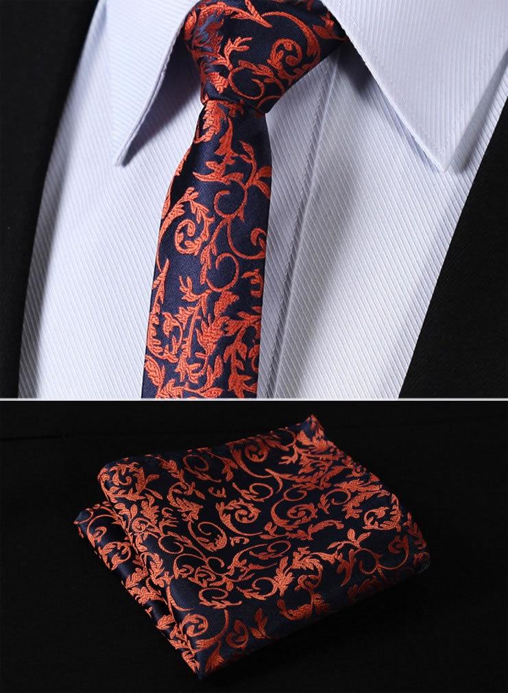 "TF2014N5 Orange Navy Blue Paisley 2.17"" 100%Silk Woven Slim Skinny Narrow Men Tie Necktie Handkerchief Pocket Square Suit Set"