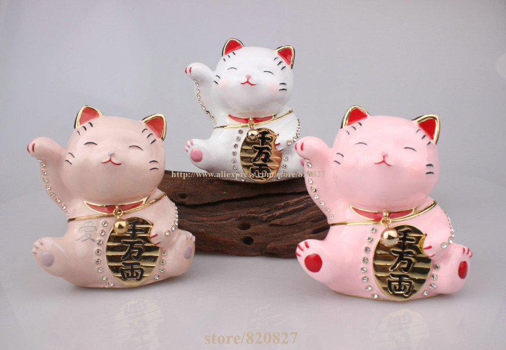 Hinged Jeweled Trinket Box Cute Japan Lucky Cat Money Lucky Cat Chinese Japanese Statue Lucky Cat Collectible Figurine sgodde chinese lucky waving gold cat figure with moving arm in colourful box feng shui outdoor hammock