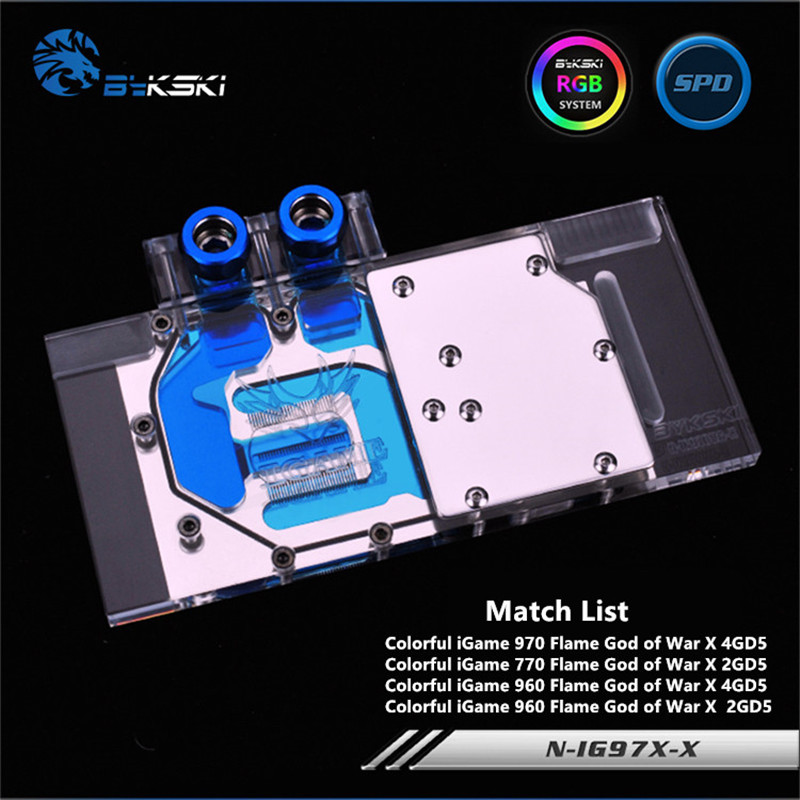 Bykski Full Coverage GPU Water Block For Colorful iGame970X 960X Graphics Card N-IG97X-X bykski n ig1060oncev2 x gpu water cooling block for colorful gtx1060 gaming