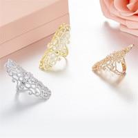 Luxury brand designer 3A cubic zirconia flower shape long ring rose gold silver gold 925 sterling silver monaco jewelry women