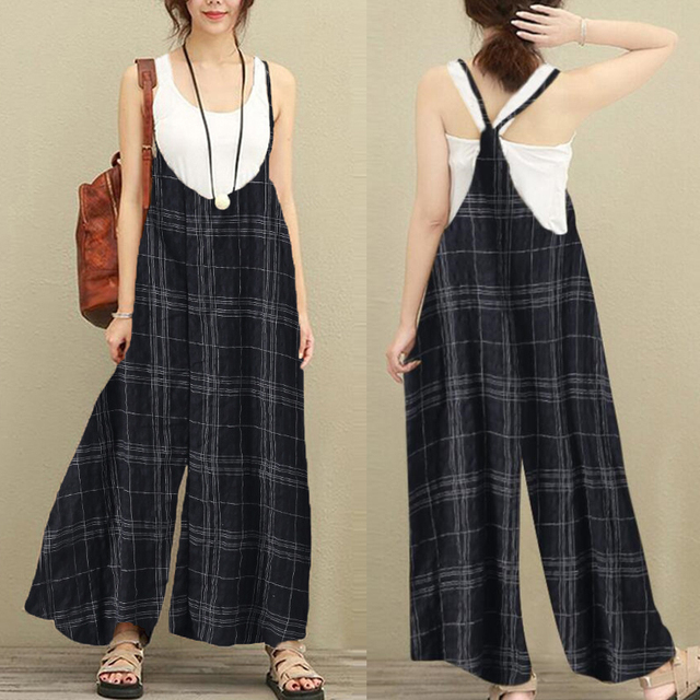 a7b510b907c FLORHO Women Sleeveless Vacation Dungarees Baggy Plaid Jumpsuits Overalls  Fashion Casual Loose Long Wide Leg Pants Bib Trousers