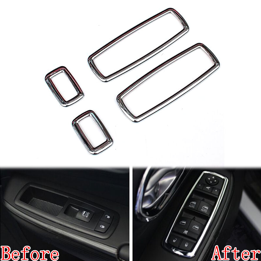 4pcs Matte ABS window Switch Button Cover Trim For Jeep Grand Cherokee 2011-2015