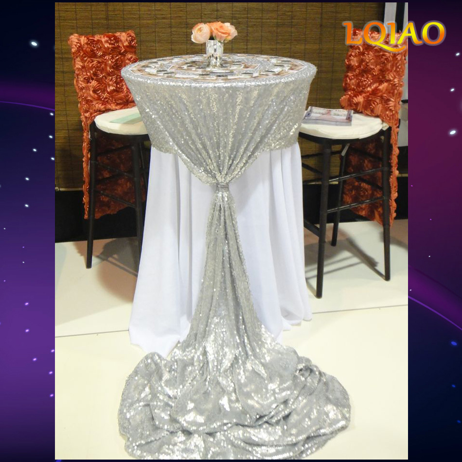 Silver Gold Embroidered Sequin Rectangular Tablecloth