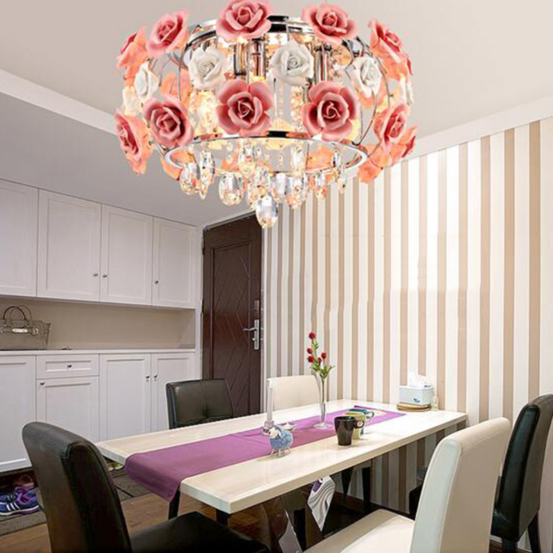 Lights & Lighting Ceiling Lights & Fans Modern Flower Shape Glass Crystal Chandelier Restaurant Light Roses Shaped Lamp Shade Dia 480mm Free Shipping Pl052