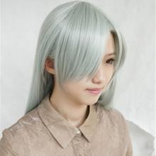 The Seven Deadly Sins Cosplay Wigs Elizabeth Liones Wigs Long Light Gray Green Synthetic Hair Perucas Cosplay Wig + Wig Cap