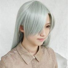 Peruca com sete pecados capitais, cabelo sintético longo cinza claro, verde, para cosplay tampa com gorro