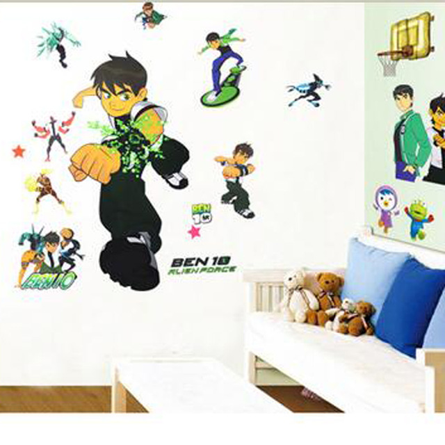 Free Shipping BEN 10 Removable Wall Stickers Nursery Baby Decor Decals Kids  Boys Art Wallpaper Cartoon