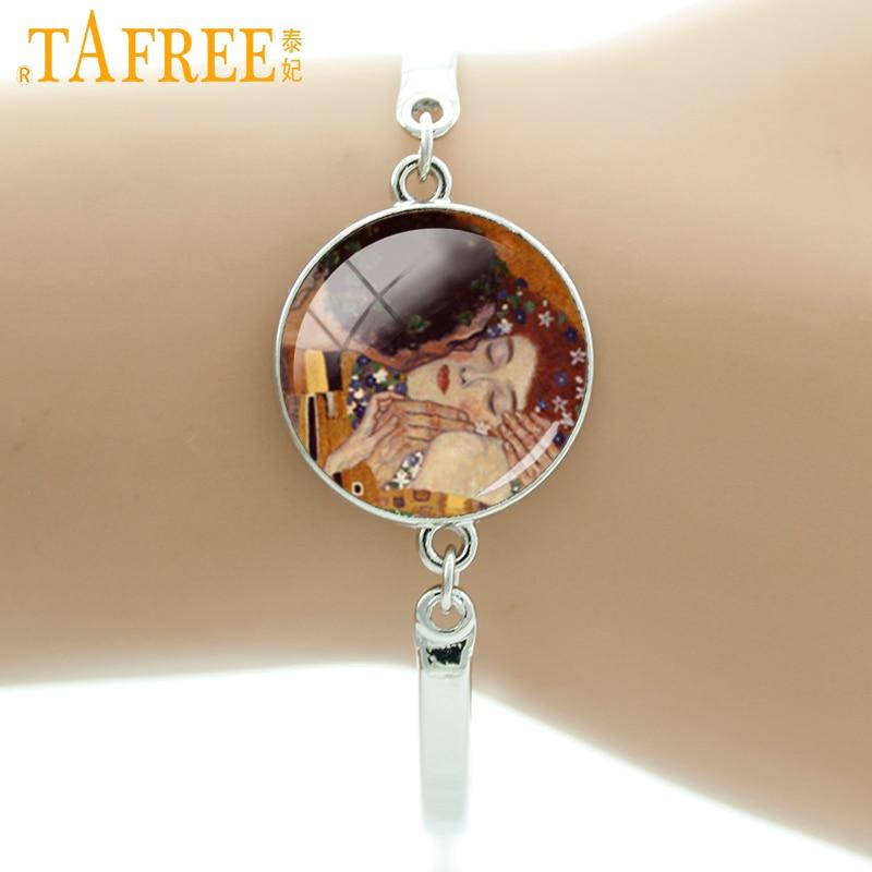 TAFREE Brand Gustav Klimt Bracelet The Kiss Handcrafted Bangle Glass Tile Art Charm Lovers' jewelry Best Gift For Men Women D267