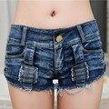 Mujeres Sexy Pantalones Cortos de Mezclilla de Verano 2016 Nueva Marca de Moda de Alta Cintura Flaco Vaina Botones Hollow Out Short Jeans